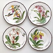 Посуда handmade. Livemaster - original item Painted porcelain Collection plates Orchids. Handmade.
