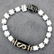 Украшения handmade. Livemaster - original item Bracelet, natural white opal, JI Money hook Dzi 9 eyes. Handmade.