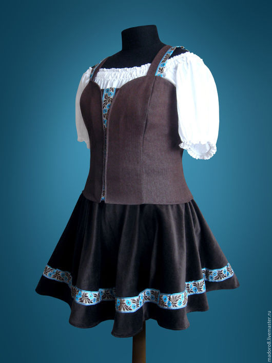 Этническая одежда ручной работы. Ярмарка Мастеров - ручная работа. Купить Баварский костюм. Handmade. Коричневый, этно, Бавария, хлопок