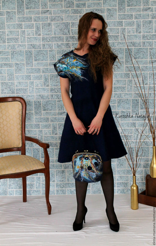 Платья ручной работы. Ярмарка Мастеров - ручная работа. Купить Весенние Штрихи . Валяное платье.. Handmade. Комбинированный, бусины