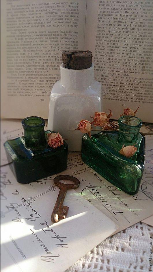 Винтажные предметы интерьера. Ярмарка Мастеров - ручная работа. Купить Бутылка старинная ЧЕРНИЛЬНИЦА (Германия) #21. Handmade. Белый, стекло