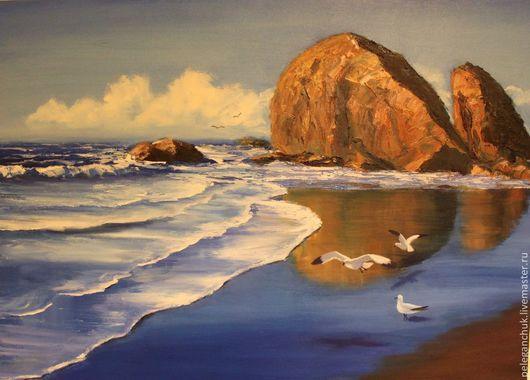 """Пейзаж ручной работы. Ярмарка Мастеров - ручная работа. Купить Картина маслом на холсте, морской пейзаж, море, пляж """"Мокрый песок"""". Handmade."""