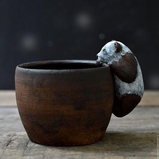 Кружки и чашки ручной работы. Ярмарка Мастеров - ручная работа. Купить Кружка с пандой. Handmade. Коричневый, керамика ручной работы