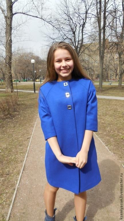 Верхняя одежда ручной работы. Ярмарка Мастеров - ручная работа. Купить Пальто демисезонное Fiore blu. Handmade. Синий