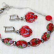 Украшения handmade. Livemaster - original item Mini necklace and red flower earrings. Handmade.