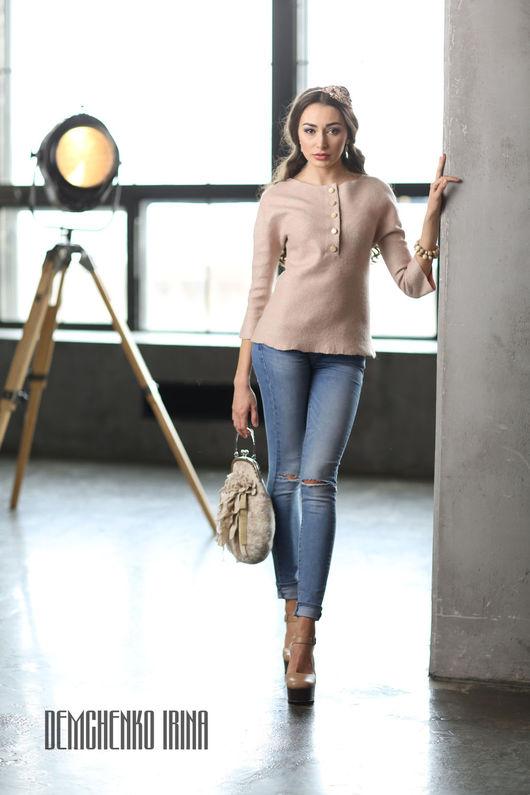 Блузки ручной работы. Ярмарка Мастеров - ручная работа. Купить Валяная блуза «В перламутре». Handmade. Бледно-розовый, ракушка