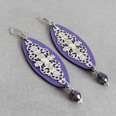 Decorations handmade. Livemaster - original item earrings: Long leather earrings Silver on lilac. Handmade.