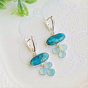 Украшения handmade. Livemaster - original item Delicate earrings with turquoise and chalcedony to buy. Handmade.