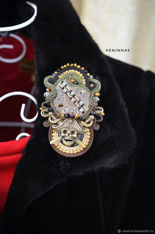 Брутальная брошь Пират, выполненная в сутажной технике – купить на Ярмарке Мастеров – NMAG4RU | Брошь-булавка, Москва