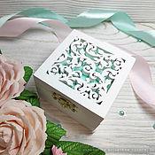 Свадебный салон handmade. Livemaster - original item Wooden carved universal jewelry box for wedding rings. Handmade.