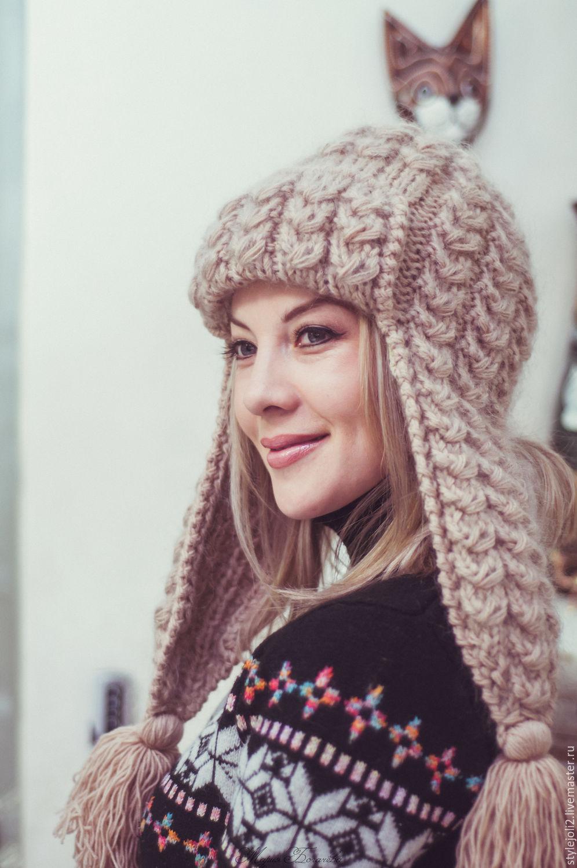 Вязаные женские шапки с ушками или завязками Вяжем с Лана Ви 81