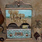 """Для дома и интерьера ручной работы. Ярмарка Мастеров - ручная работа """" Индийский чай"""" домик для чайных пакетиков с ящичком.. Handmade."""