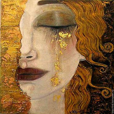 Картины и панно ручной работы. Ярмарка Мастеров - ручная работа Картина маслом для интерьера Золотая слеза. Handmade.