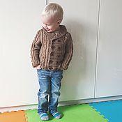 Работы для детей, ручной работы. Ярмарка Мастеров - ручная работа Комбинезон кардиган свитер косами вязаный для новорожденного. Handmade.