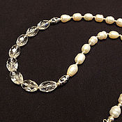 handmade. Livemaster - original item Necklace made of natural pearls, rock crystal and 925 sterling silver. Handmade.