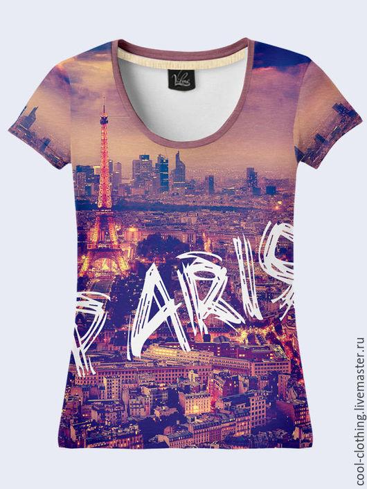 """Футболки, майки ручной работы. Ярмарка Мастеров - ручная работа. Купить Женская футболка """"Париж"""". Handmade. Рисунок, подарок женщине"""