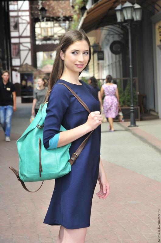 Женские сумки ручной работы. Ярмарка Мастеров - ручная работа. Купить Оригами Домик, городской кожаный рюкзак, зеленый. Handmade.