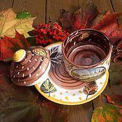 """Посуда ручной работы. Ярмарка Мастеров - ручная работа Чайная чашка с блюдцем и крышкой  """"Осенний мотив"""" ручной работы. Handmade."""
