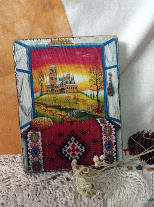 Пейзаж ручной работы. Ярмарка Мастеров - ручная работа. Купить Вид из деревнского окна.. Handmade. Комбинированный, пейзаж, деревенский дом