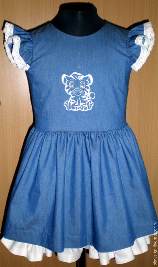 """Одежда для девочек, ручной работы. Ярмарка Мастеров - ручная работа. Купить Платье """"Джинс-кружево"""". Handmade. Джинсовая ткань, однотонный"""