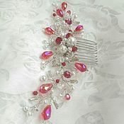 Свадебный салон handmade. Livemaster - original item bridal comb. Red crystals. decoration for hair.. Handmade.