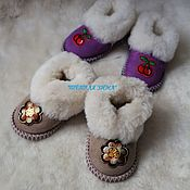 Работы для детей, handmade. Livemaster - original item Baby chuni from genuine sheepskin. Handmade.