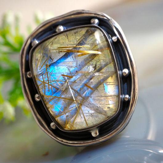 """Кольца ручной работы. Ярмарка Мастеров - ручная работа. Купить Кольцо """"Лунный свет"""" - кварц-волосатик-лунный камень, серебро. Handmade."""