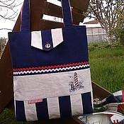 Сумки и аксессуары ручной работы. Ярмарка Мастеров - ручная работа сумка морская из льна. Handmade.