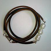 Украшения ручной работы. Ярмарка Мастеров - ручная работа кожаный браслет с жемчугом. Handmade.