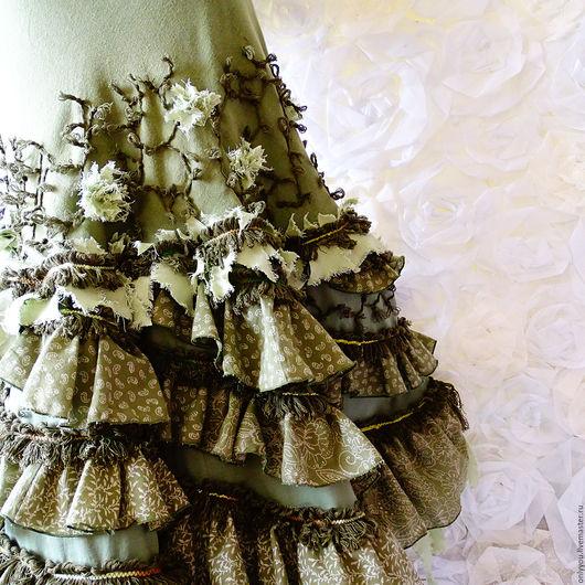 Юбки ручной работы. Ярмарка Мастеров - ручная работа. Купить Длинная юбка Голос высокой травы. Handmade. Зеленый, эко