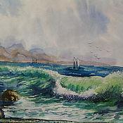 """Картины и панно ручной работы. Ярмарка Мастеров - ручная работа картина акварелью""""Море...море...."""". Handmade."""