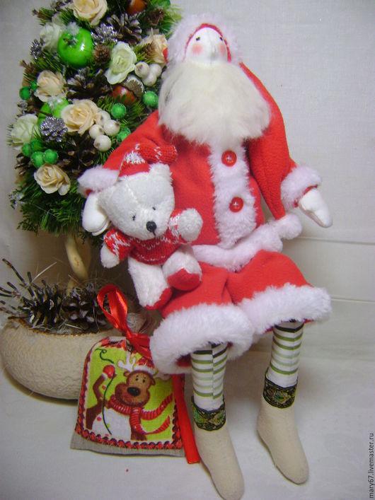 Куклы Тильды ручной работы. Ярмарка Мастеров - ручная работа. Купить Дед Мороз с мишкой и с мешком подарков. Handmade.