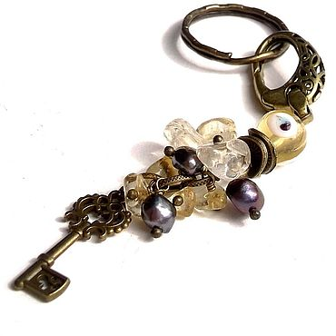 Accessories handmade. Livemaster - original item Keychain made of natural stones: with pearls and citrine. Handmade.