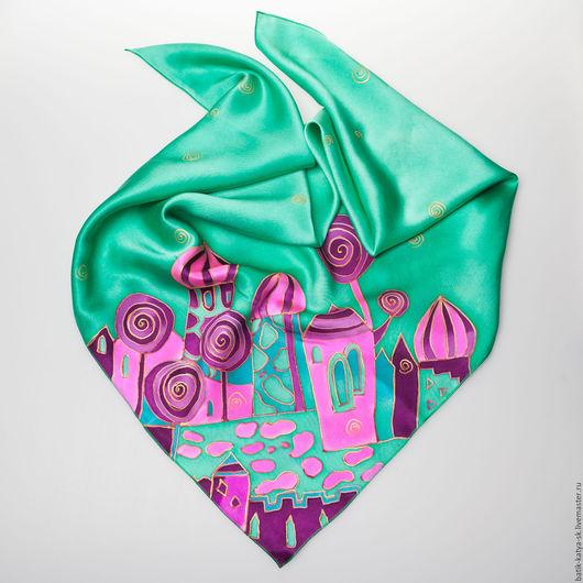 """Шарфы и шарфики ручной работы. Ярмарка Мастеров - ручная работа. Купить Батик шелковый платок""""Сказочный город изумрудный"""". Handmade."""