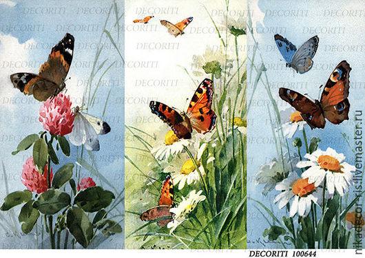 Декупаж и роспись ручной работы. Ярмарка Мастеров - ручная работа. Купить К. Кляйн - бабочки и полевые цветы (D100644) - рисовая бумага, А4. Handmade.