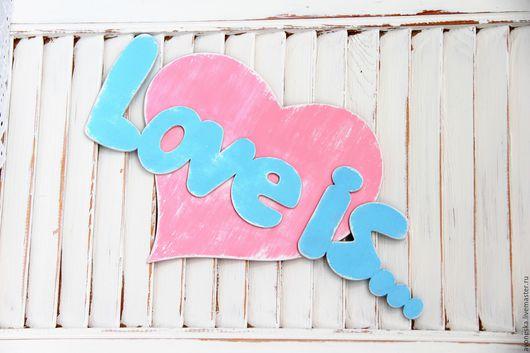 Интерьерные слова ручной работы. Ярмарка Мастеров - ручная работа. Купить Интерьерная надпись, пано Любовь это.... Handmade. Голубой