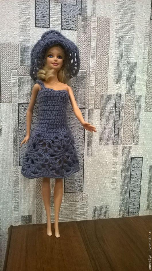 """Одежда для кукол ручной работы. Ярмарка Мастеров - ручная работа. Купить """"Осенняя пора"""" платье и шляпка. Handmade. Темно-серый"""