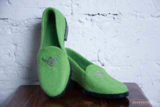 Обувь ручной работы. Ярмарка Мастеров - ручная работа. Купить Валяные туфли мокасины. Handmade. Бежевый, офисная мода