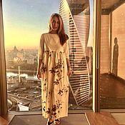 Одежда ручной работы. Ярмарка Мастеров - ручная работа Макси платье из Итальянского хлопка. Handmade.
