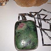 Украшения handmade. Livemaster - original item Pendant mens womens Natural ruby in Zoisite In the frame. Handmade.
