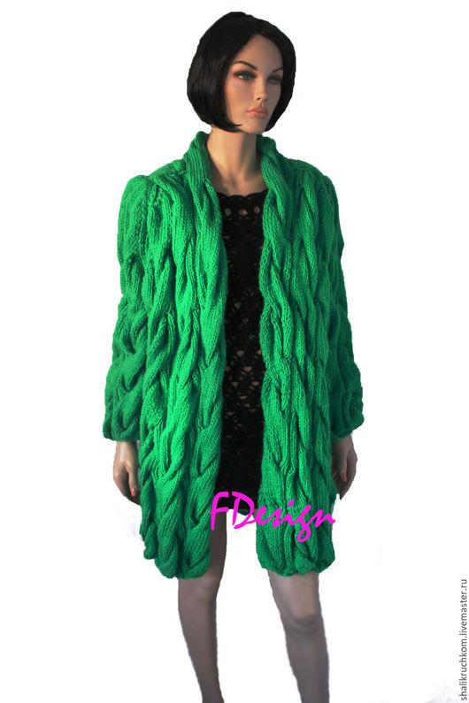 Кофты и свитера ручной работы. Ярмарка Мастеров - ручная работа. Купить 48-52 Вязаный кардиган в стиле шарпей ручной работы. Handmade.