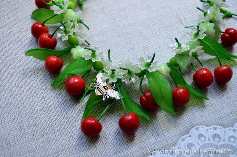 Jewelry set 'Cherries' (necklace and bracelet), Gift for newborn, Kolomna,  Фото №1