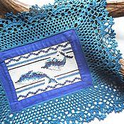 Для дома и интерьера ручной работы. Ярмарка Мастеров - ручная работа Ночь над океаном декоративная салфетка морской стиль ручная вышивка. Handmade.