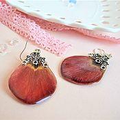 Украшения handmade. Livemaster - original item Earrings with Real Red Tulip petals Epoxy Resin 2. Handmade.