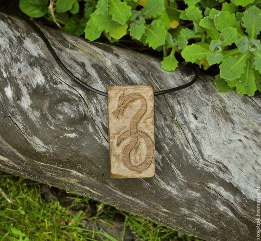 """Кулоны, подвески ручной работы. Ярмарка Мастеров - ручная работа. Купить деревянная подвеска """"Рунический змей 2"""". Handmade. Коричневый"""