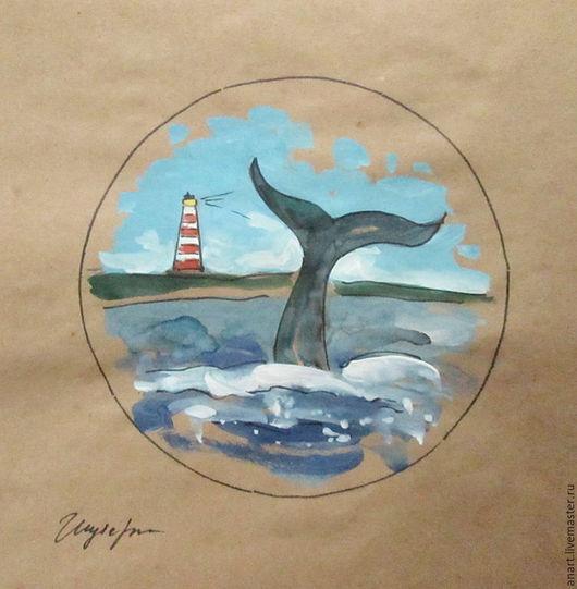 """Пейзаж ручной работы. Ярмарка Мастеров - ручная работа. Купить Графика """"У берегов маяка"""". Handmade. Синий, кит, берег"""