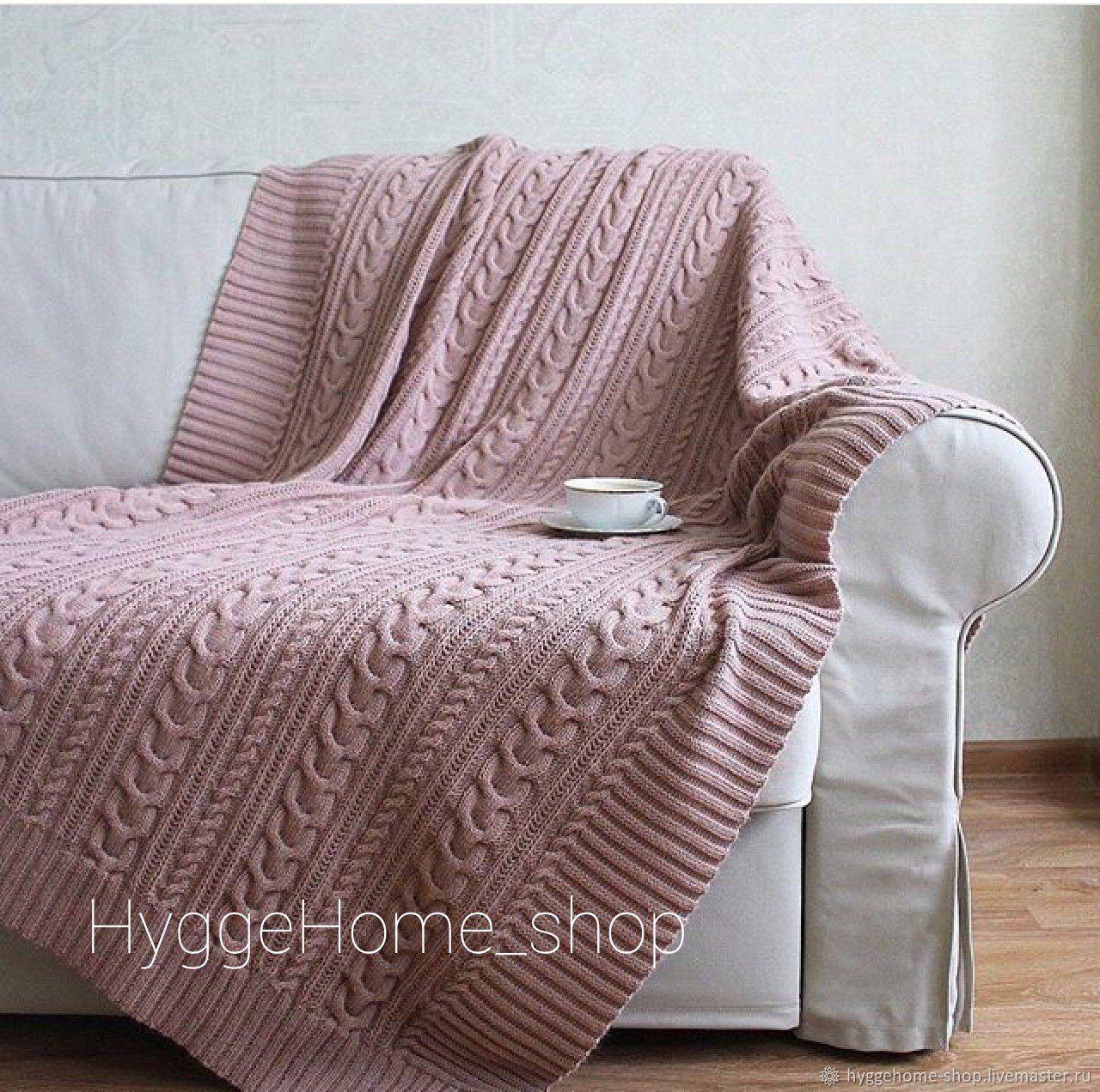 Текстиль, ковры ручной работы. Ярмарка Мастеров - ручная работа. Купить Плед вязаный пудра и много других расцветок. Handmade.