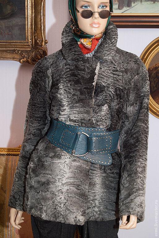 Верхняя одежда ручной работы. Ярмарка Мастеров - ручная работа. Купить Полушубок Свакара серебро, 46-48 размер,пшубок автоледи. Handmade.