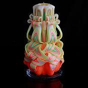Свечи ручной работы. Ярмарка Мастеров - ручная работа Резная свеча 306. Handmade.