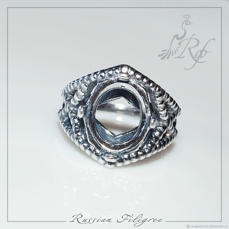 """Для украшений ручной работы. Ярмарка Мастеров - ручная работа. Купить Основа для кольца """"Гера""""(10х12 мм) - серебрение 925 пробы. Handmade."""
